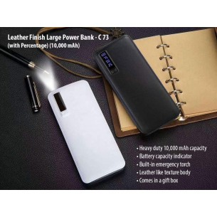 C73 - LEATHER FINISH LARGE POWER BANK WITH TORCH (WITH CAPACITY INDICATOR) (10,000 MAH)