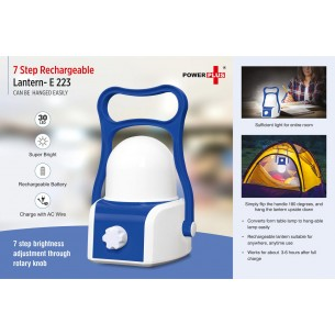 E223 - 7 step Rechargeable Lantern (can be hanged easily)