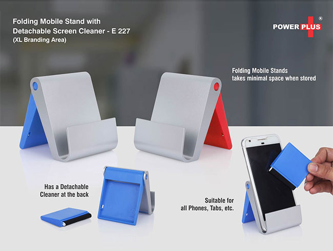 Folding mobile stand with detachable screen cleaner (XL branding area) - E227