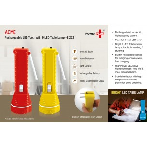 E222 - ACME RECHARGEABLE LED TORCH WITH 9 LED TABLE LAMP
