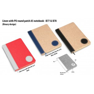 B77 - Colored Linen with PU round patch A5 notebook (Binary design)