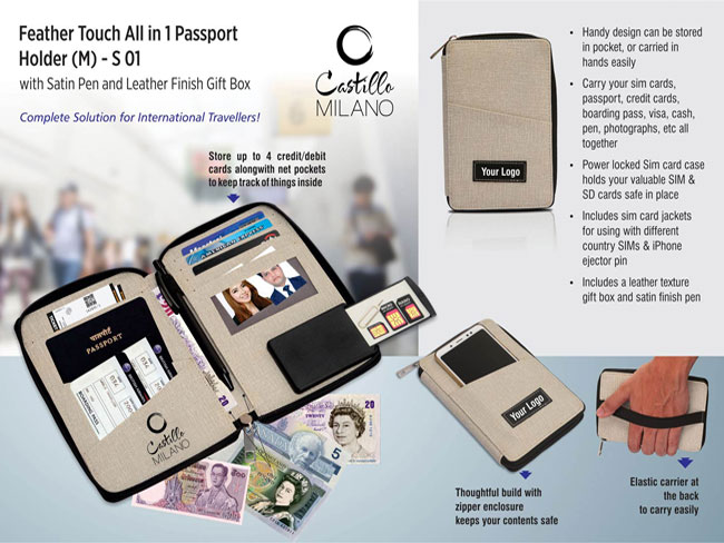 S01 - FEATHER TOUCH ALL IN 1 PASSPORT HOLDER (M) (WITH PEN)