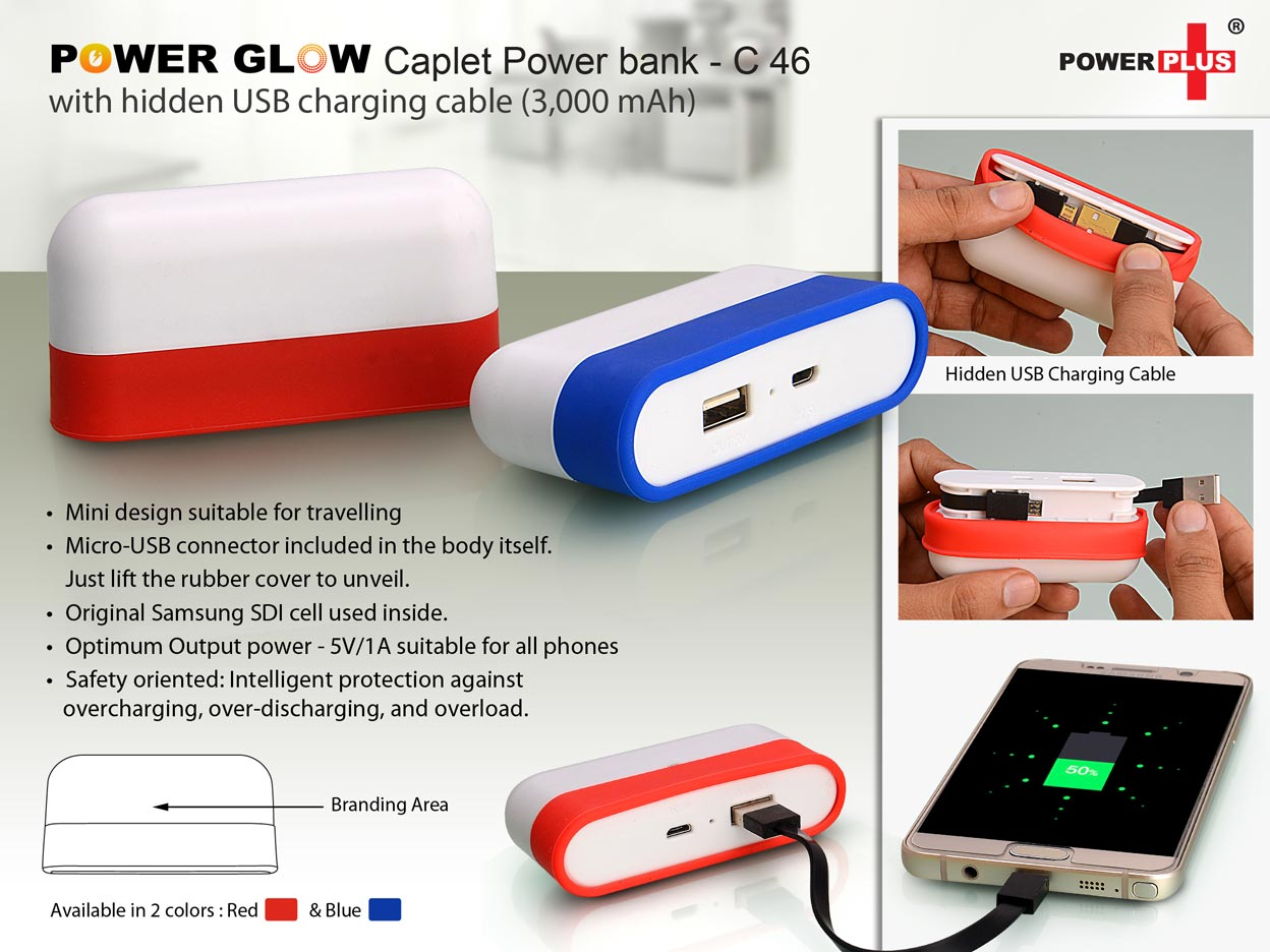 C46 - Power Glow Caplet Power bank with hidden USB charging cable (3,000 mAh)