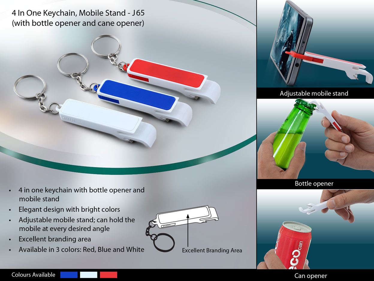 J65 - Keychain with bottle opener, pull tab opener and mobile stand (pull out)