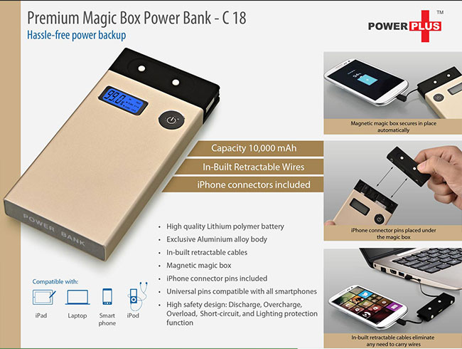 Magic box Premium Power Bank (10000 mAh) (in-built cables) (for all smartphones) - C18