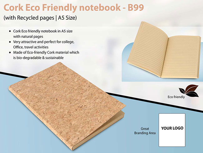 Cork Eco Friendly notebook with Recycled pages | A5 Size - B99