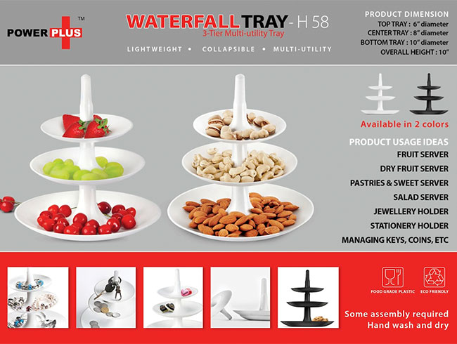 Power plus Waterfall tray: 3 pc multiutility folding tray - H58