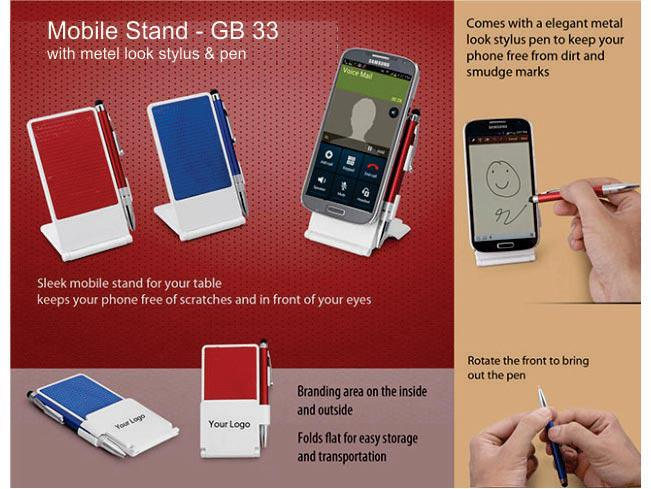 GB33 - Mobile stand with metal look stylus & pen