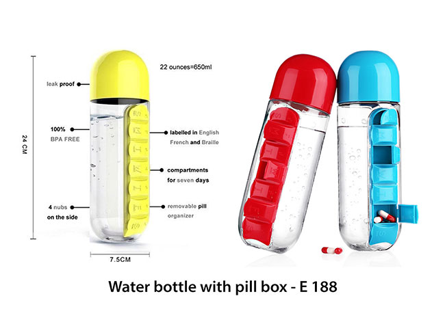 Water bottle with pill box - E188