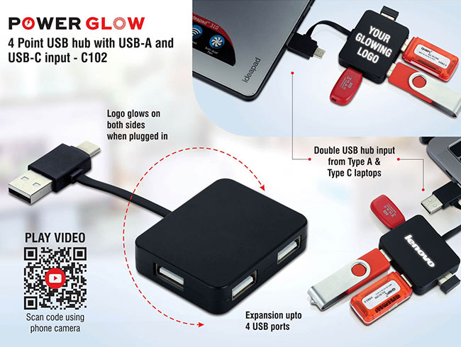 Power Glow 4 point USB hub with USB-A and USB-C input | 4 USB ports - C102