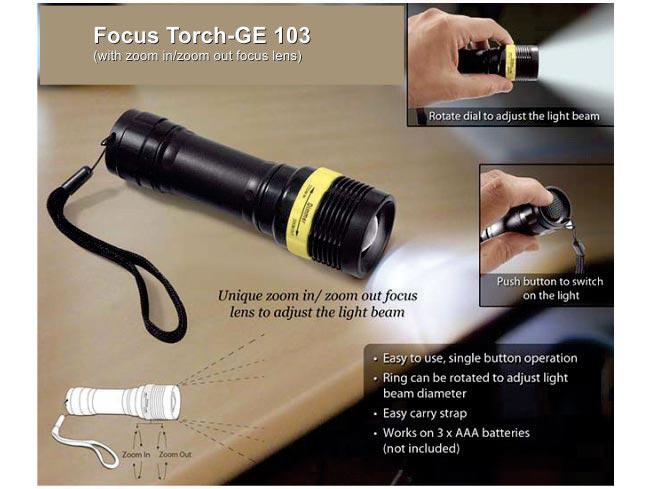 GE103 - Focus torch (with zoom in / zoom out lens)