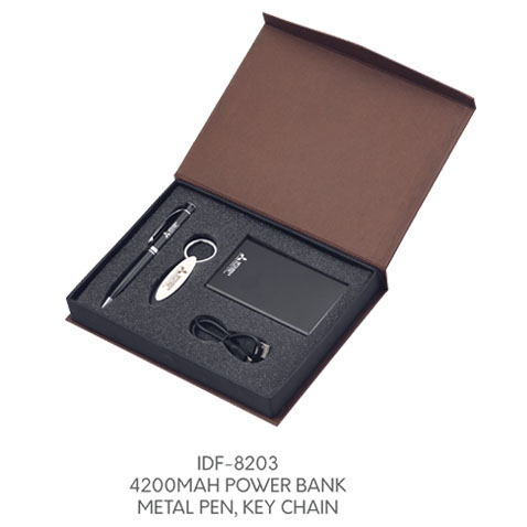 IDF 8203  4200MAH POWERBANK,METAL PEN,KEY CHAIN,VISITING CARD HOLDER