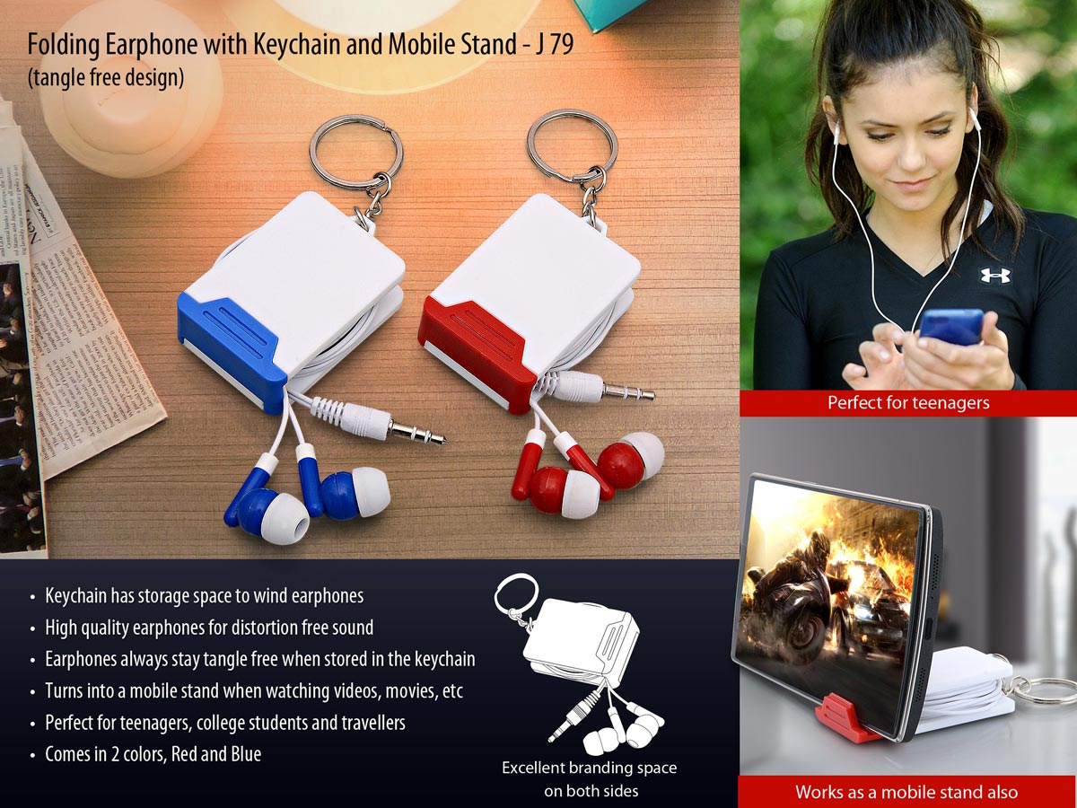 Keychain with Folding earphones and mobile stand