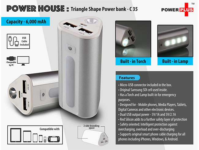 Power Plus Power House : Triangle shape Power Bank with Lamp and Torch (Dual USB Port) (6000 mAh) - C35