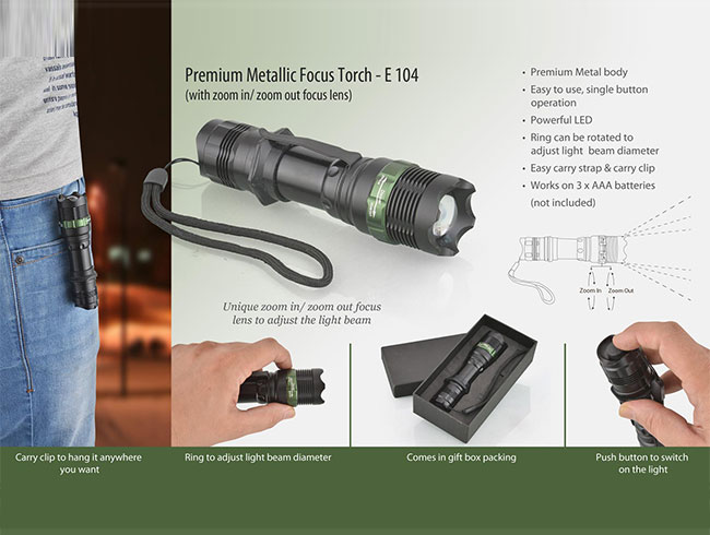 Metal focus torch (Premium) (with zoom in / zoom out lens) - E104