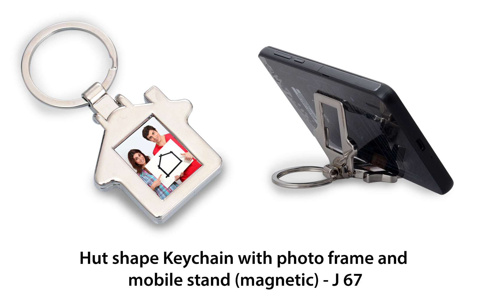 J67 - Hut shape Keychain with photo frame and mobile stand (magnetic)