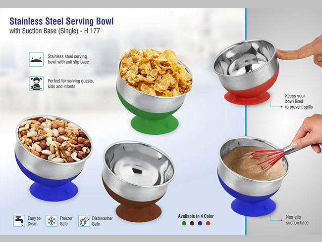 Stainless steel Serving bowl with suction base - h177