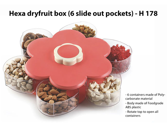Hexa dryfruit box (6 slide out pockets) - H178