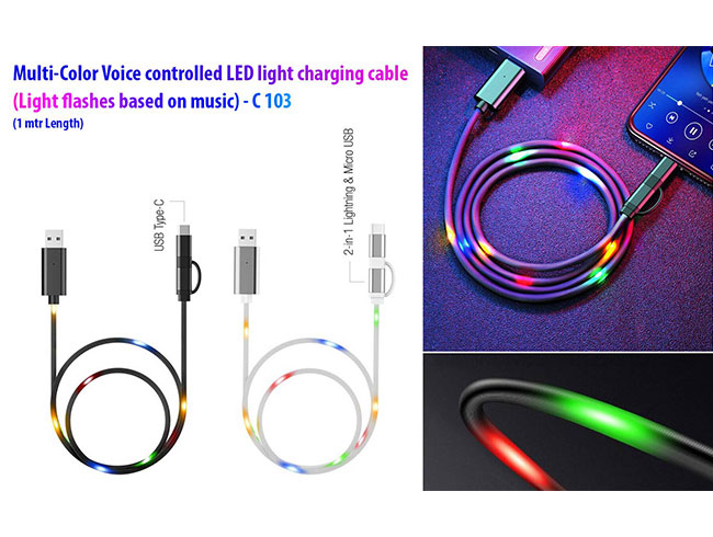 Voice controlled LED light charging cable (Multicolor) | Light flashes based on music | 1 mtr Length - C103