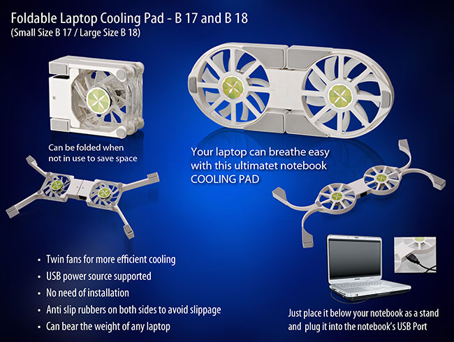 Folding Laptop stand with USB Fan (Small) - CB17