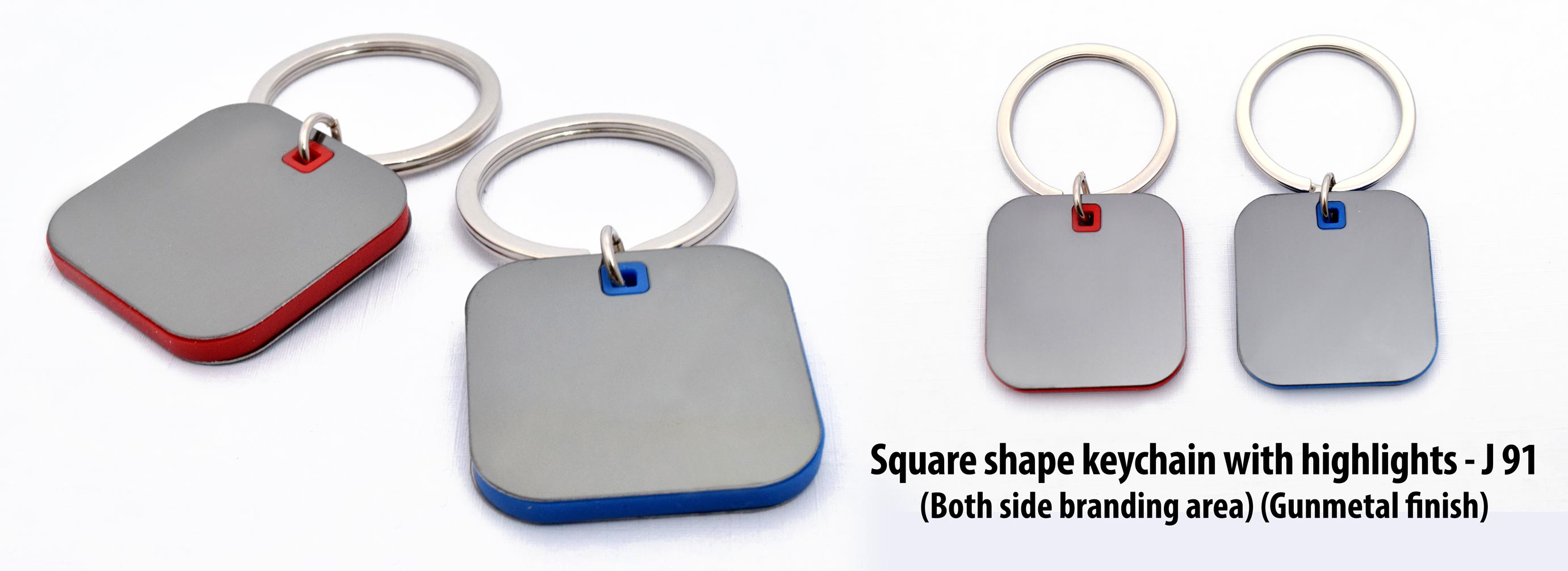 J91 - Square shape keychain with highlights