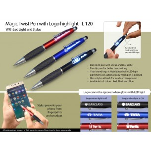 L120 - NEW MAGIC TWIST PEN (WITH LOGO HIGHLIGHT)