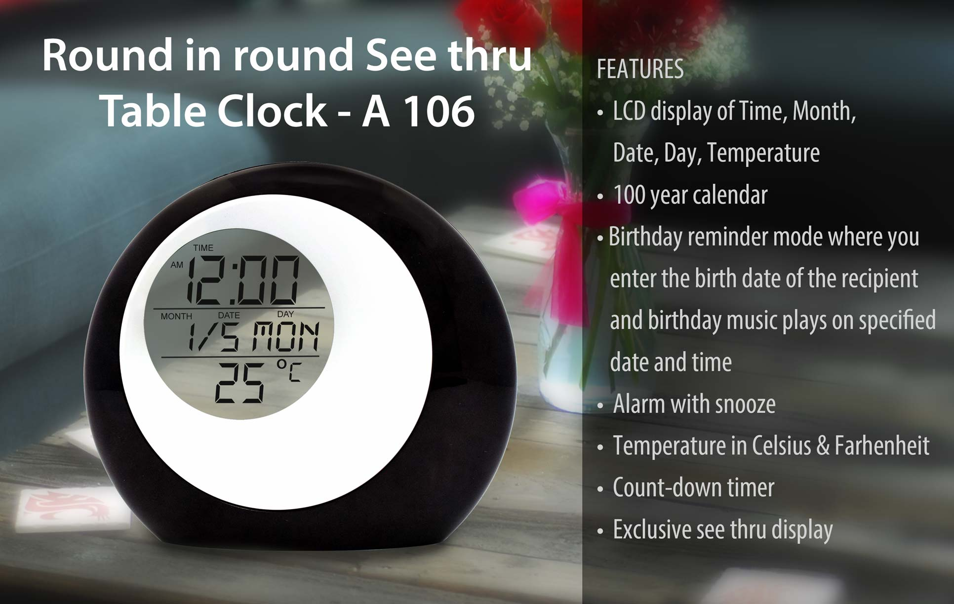 A106 - ROUND IN ROUND SEE THRU TABLE CLOCK