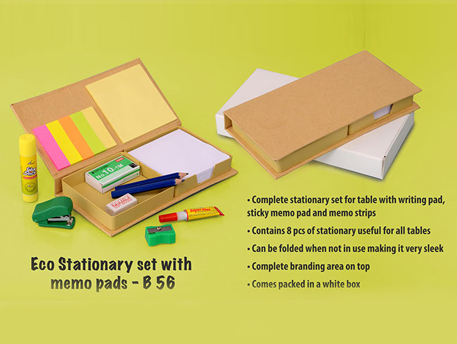 Eco stationery set with memo pads - B56
