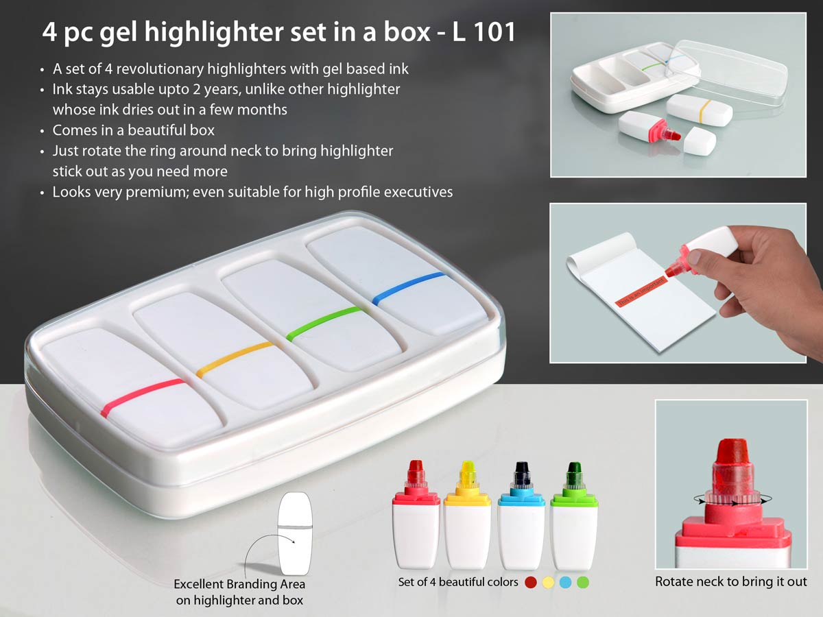 L101 - 4 pc gel highlighter set in a box