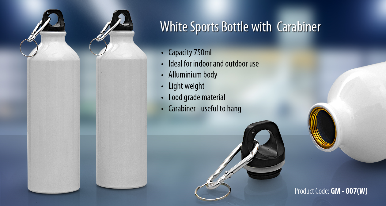 WHITE SPORTS BOTTLE WITH CARABINER GM-007