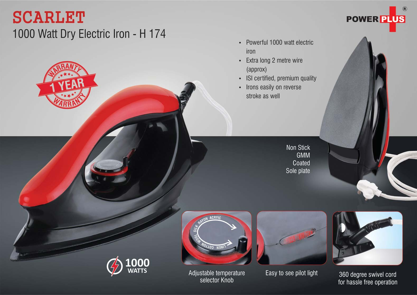 H174 - Scarlet: 1000 Watt dry electric iron by Power Plus | 1 year warranty
