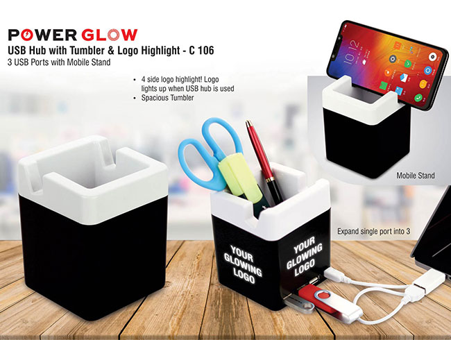 Power Glow USB hub with tumbler and logo highlight | 3 USB ports | with mobile stand - C106