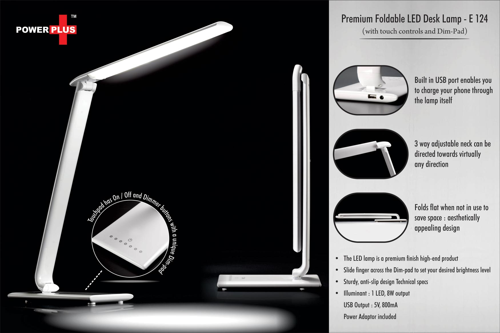 E124 - Power Plus Premium Foldable LED Desk Lamp (with touch controls and Dim - pad)