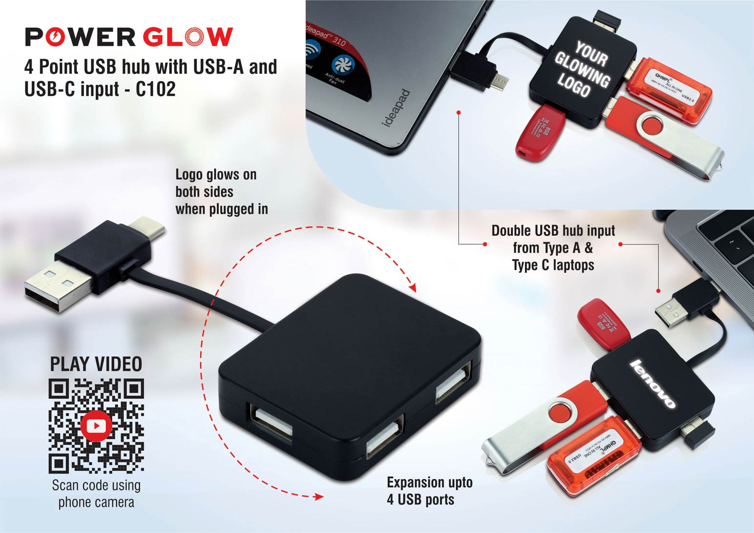 C102 - PowerGlow 4 point USB hub with USB-A and USB-C input | 4 USB ports