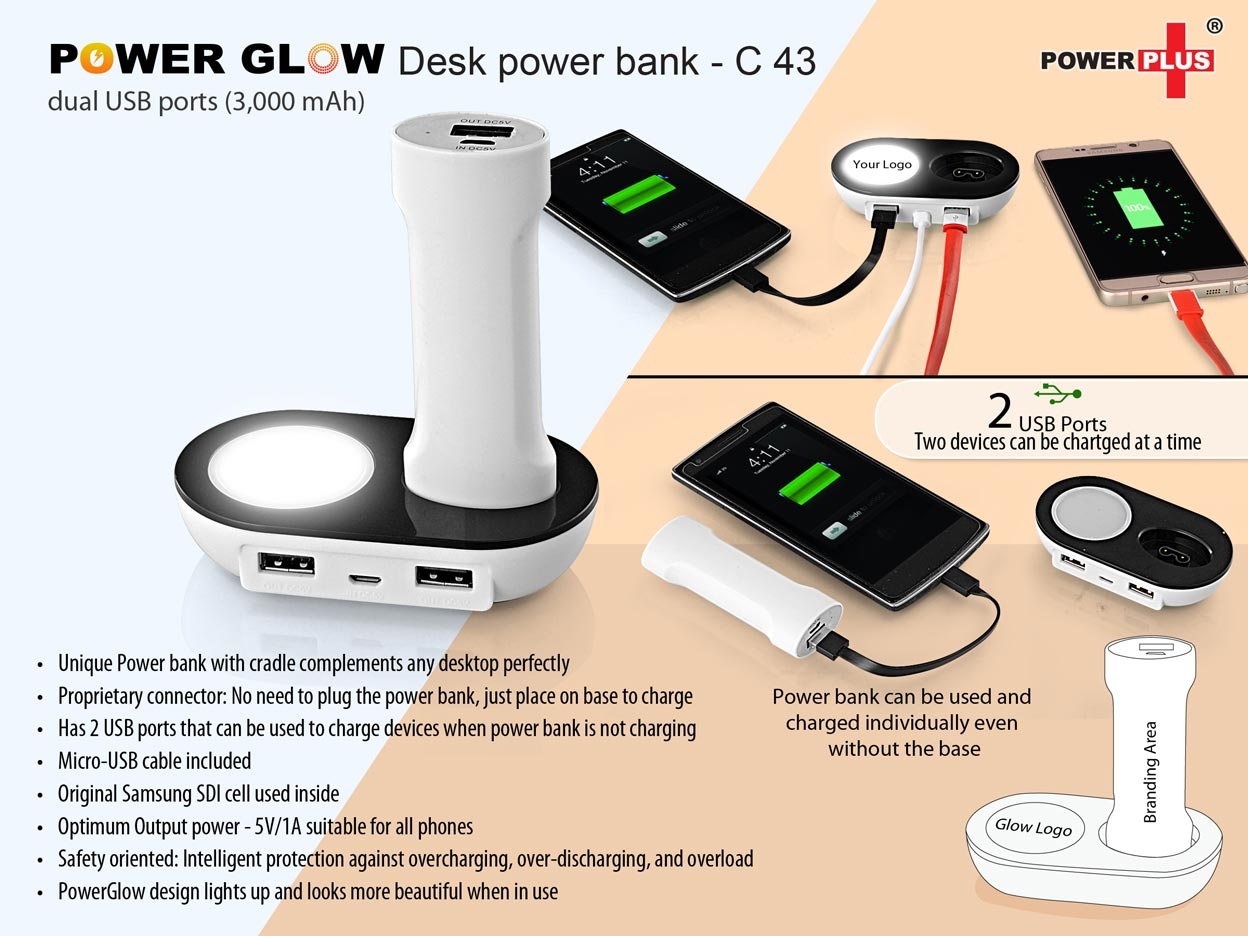 C43 - POWERGLOW DESK POWER BANK WITH DUAL USB PORTS (3,000 MAH)