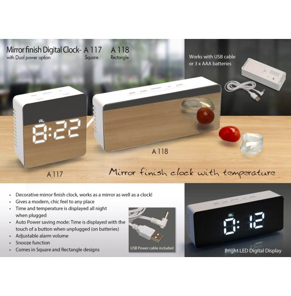 A118 - Mirror finish Digital clock (rectangle) with Dual power option