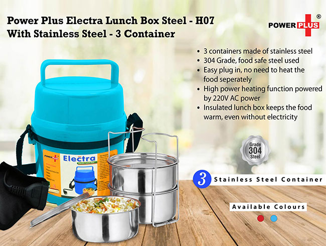 Power Plus Electra Lunch Box Steel | 3 Container - H07