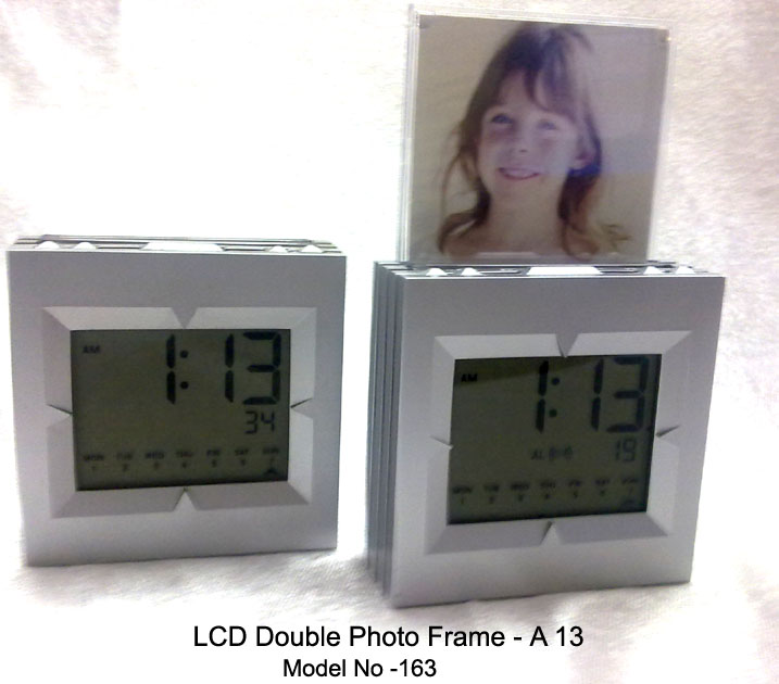 A13 -LCD Alarm clock with double photo frame