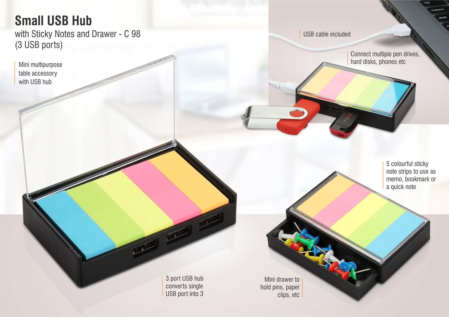 C98 - Small USB hub with sticky notes and drawer | 3 USB ports
