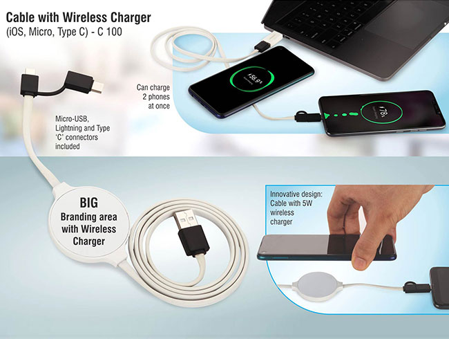 Cable with Wireless Charger (iOS, Micro, Type C) - C100