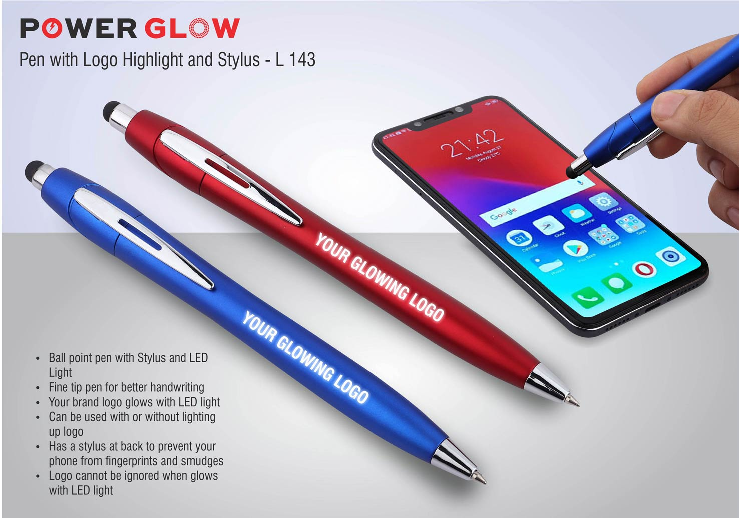 L143 - PowerGlow pen with logo highlight and stylus