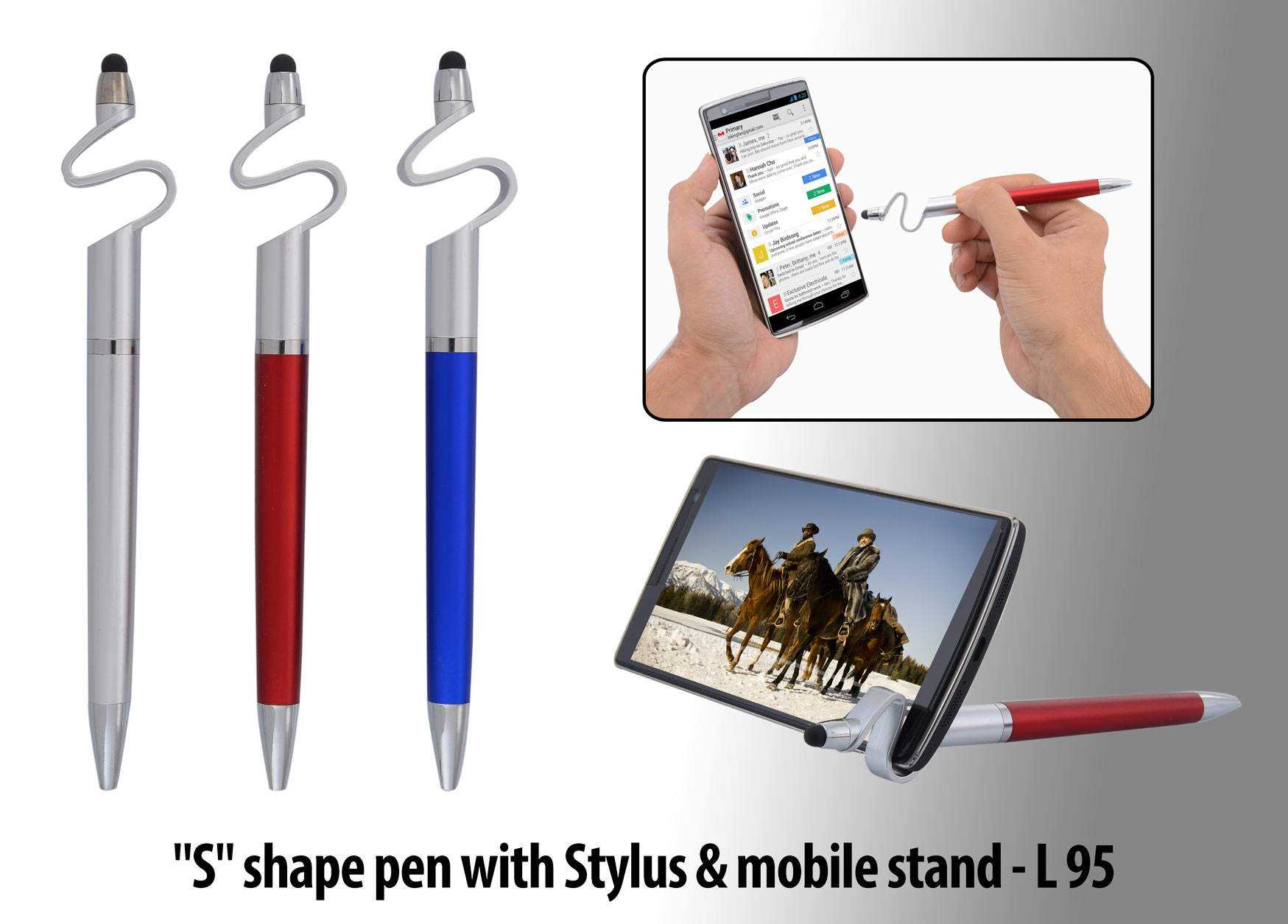 "L95 - ""S"" shape pen with Stylus & mobile stand"
