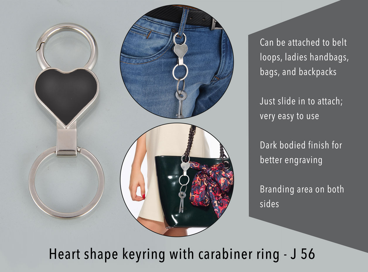 J56 - Heart shape keyring with carabiner ring