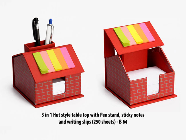 3 in 1 Hut style table top with Pen stand, sticky notes and writing slips (250 sheets) - B64
