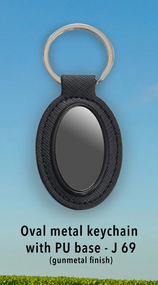 J69 - Oval metal keychain with PU base (gunmetal finish)