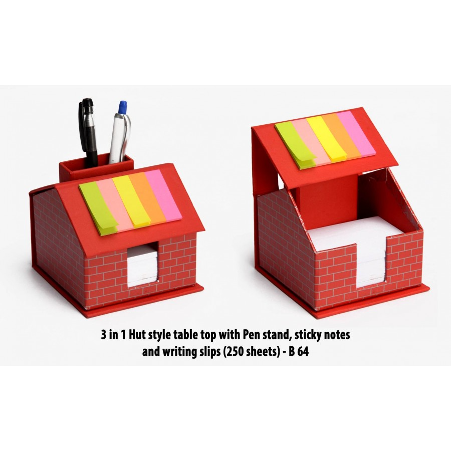 B64 - 3 in 1 Hut style table top with Pen stand, sticky notes and writing slips (250 sheets)