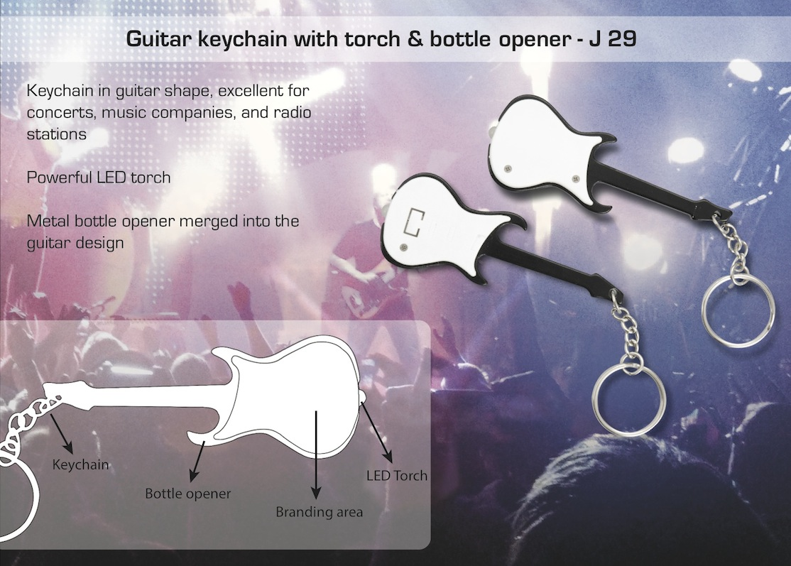 J29 - Guitar keychain with torch & bottle opener