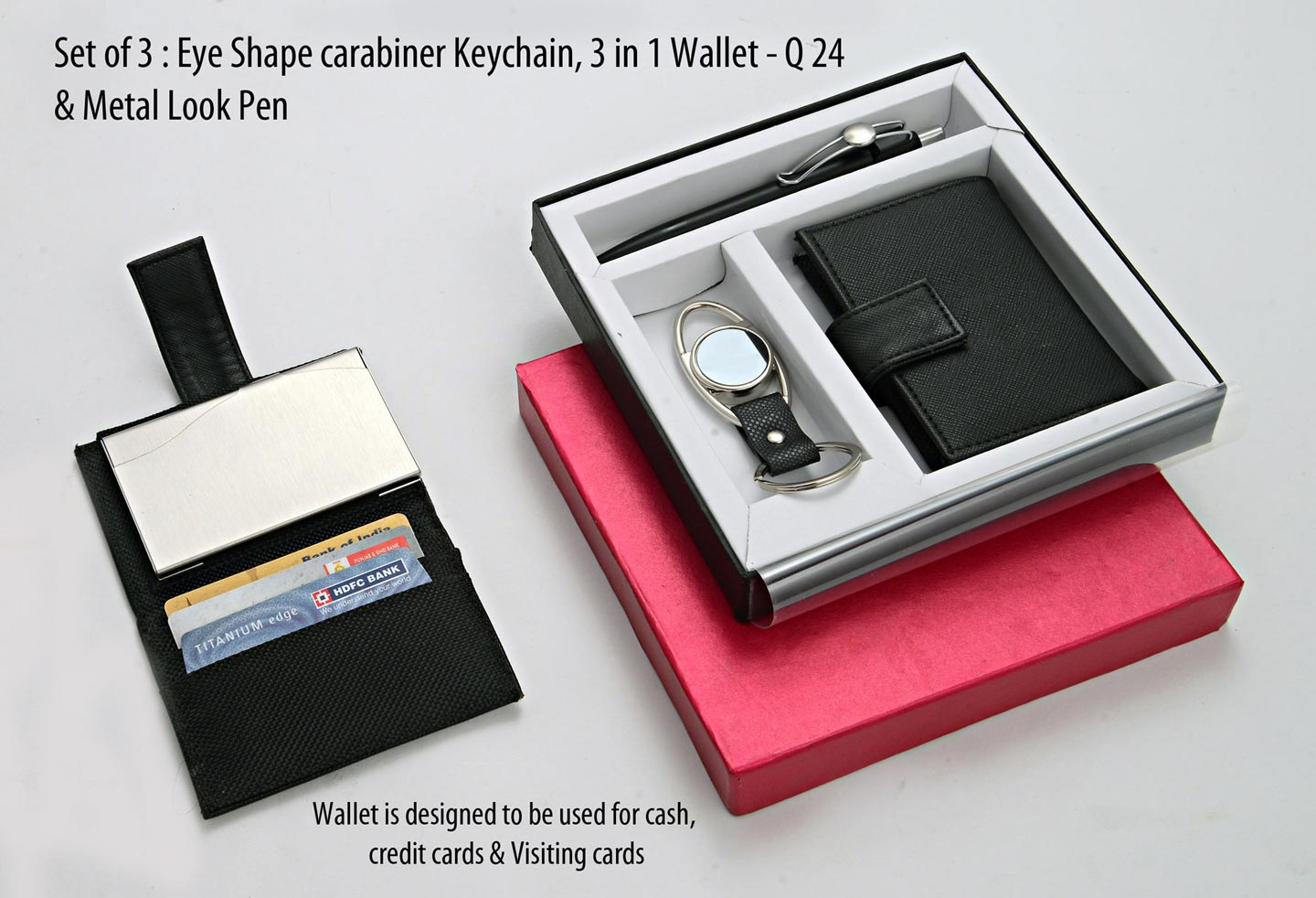 Q24 - Set of 3 : Eye shape carabiner Keychain, 3 in 1 wallet (For cash, cards and visiting cards) & Metal look Pen