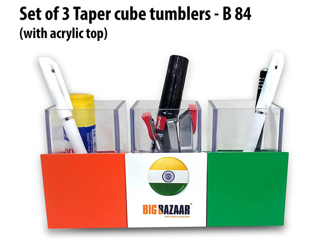 Set of 3 Taper cube tumblers with acrylic top - B84