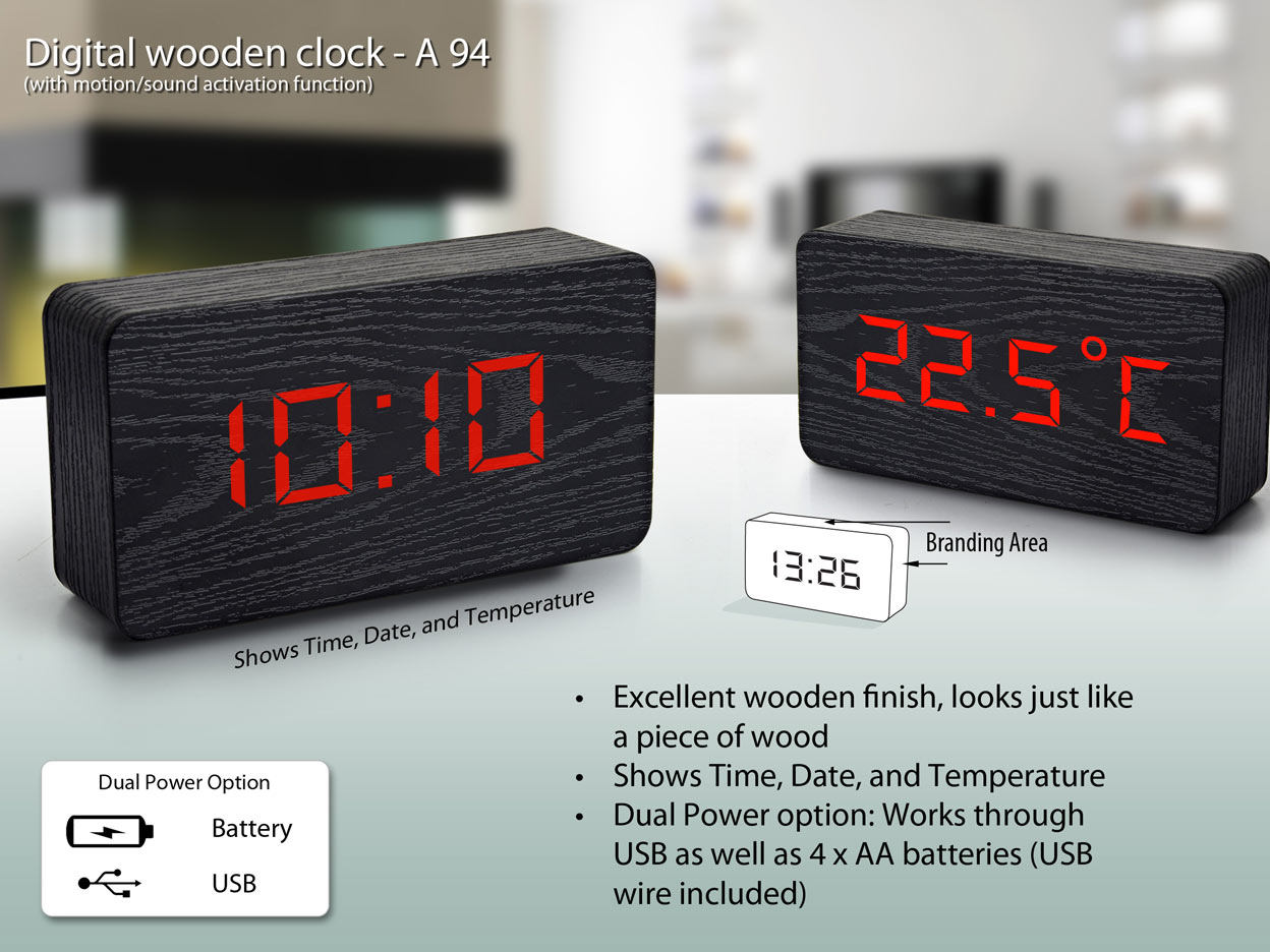 A94 - Digital wooden clock (big size) (with motion/sound activation function)